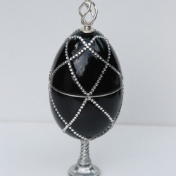 Black wood egg with silver and swarovski crystals